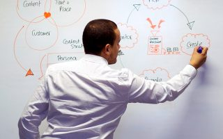 Person illustrating a strategy on a whiteboard