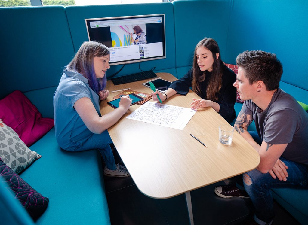 Michelle, Nuria Boj, animator and james from sweet wave audio planning