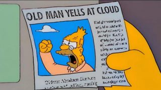 Screen-cap of The Simpsons; news article showing Grandpa Simpson with the headline Old Man Yells at Cloud.