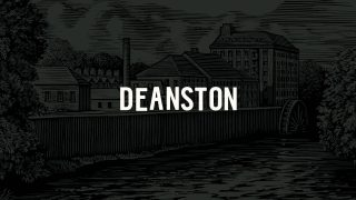 Deanston logo on a dark gray illustration of the distillery