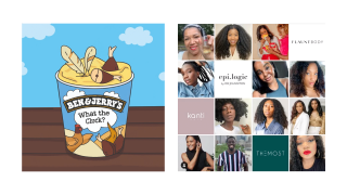 Ben & Jerry's ice cream tub and several photos of models for Black Beauty Businesses