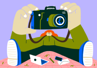 Stylised illustration of taking a photo with a camera in block colours by Lauren Morsley