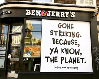 Photo of sign on Ben & Jerry's shop that reads
