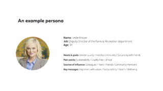 Lesley Knope from the show Parks & Recreation as an example persona