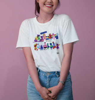 Photo of model wearing the The Pride Month Tee featuring all