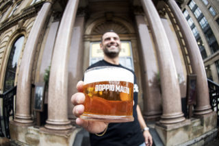 photos of a man holding a pint of beer MadeBrave creative PR launch campaign